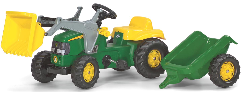 Rolly Toys Tråtraktor RollyKid John Deere med henger og frontlaster