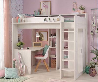 Parisot Loftseng 90×200 Higher med skrivebord og garderobe