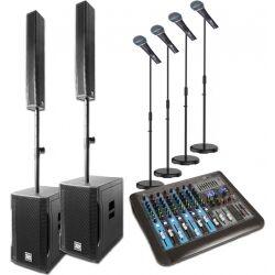 Power Dynamics PD815 Aktivt Array System 900w - inkl. mixer & mikrofoner TILBUD