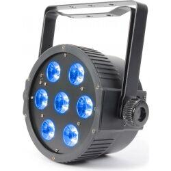 Flat PAR lampe med 7x 15W 5-i-1 LED'er TILBUD NU lysdioder flatpar flate