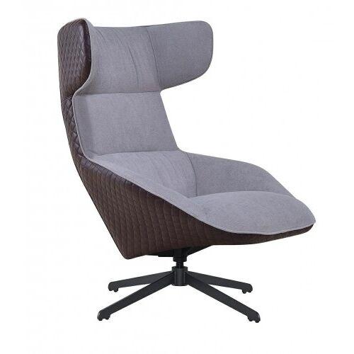 KH Fotel VITA szary - brąz - tkanina, ekoskóra, metal
