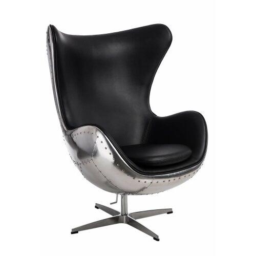 D2 Fotel Jajo aluminium czarny