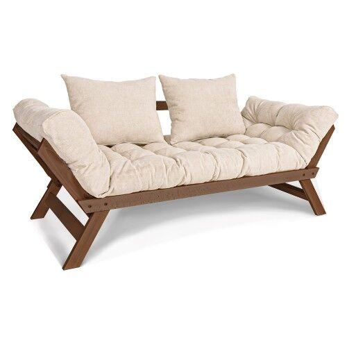 Woodman Kompaktowa sofa Allegro Walnut rozkładana jasny beż/ orzech