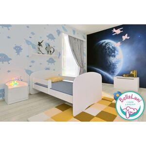 Łóżko dla dziecka z barierką HAPPY - białe 140x70 cm