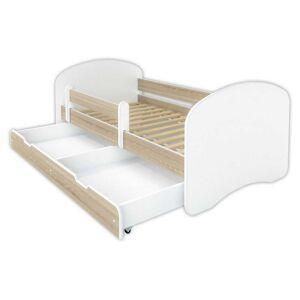 Łóżko dziecięce z szufladą HAPPY - dąb sonoma 140x70 cm
