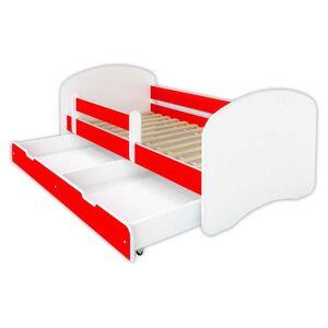 Łóżko dziecięce z szufladą HAPPY - czerwone 140x70 cm