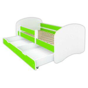 Łóżko dziecięce z szufladą HAPPY - limonka 140x70 cm