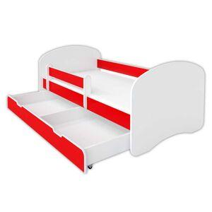 BellaLuni Łóżko z szufladą i materacem HAPPY – czerwone 140x70 cm