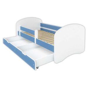 BellaLuni Łóżko dziecięce z szufladą HAPPY - niebieskie 140x70 cm