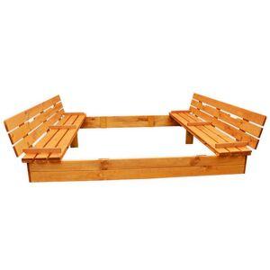 BellaLuni Zmontowana piaskownica drewniana z ławeczkami 150x150 cm