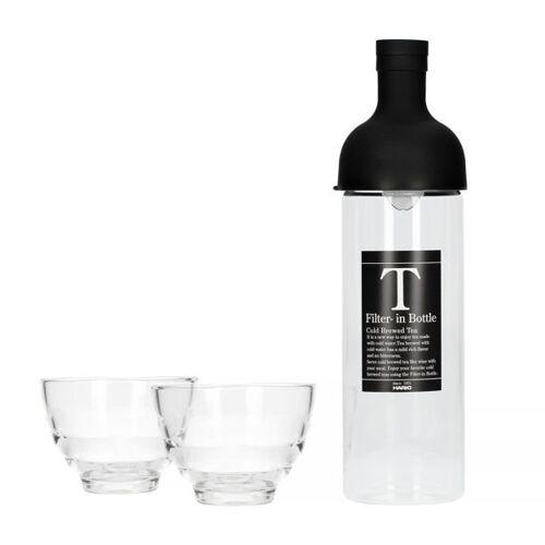 HARIO Butelka z filtrem do Cold Brew Tea Hario Czarna + 2 szklanki Yunomi