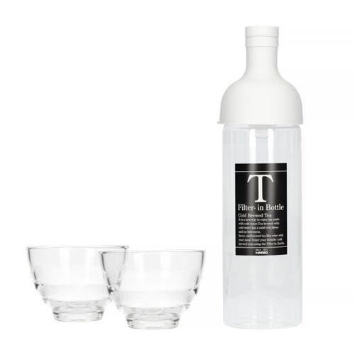 HARIO Butelka z filtrem do Cold Brew Tea Hario Jasnoszara + 2 szklanki Yunomi
