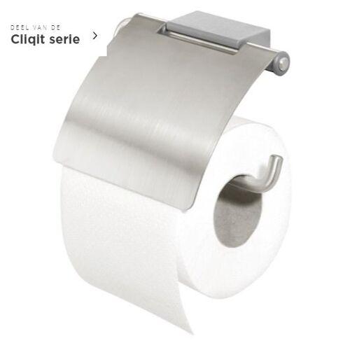 Tiger Cliqit uchwyt na papier toaletowy z klapką stal szczotkowana 2866.3.10.46