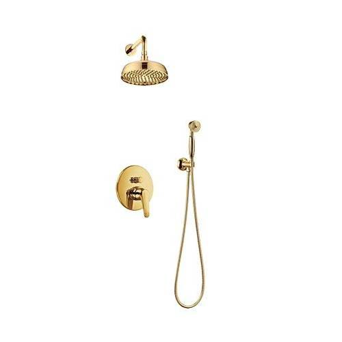 Omnires Art Deco kompletny zestaw podtynkowy złoto SYSAD27GL