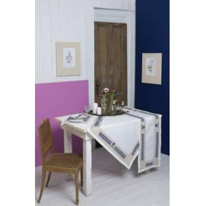 Kedima Obrus biały z greckim wzorem 137x180cm