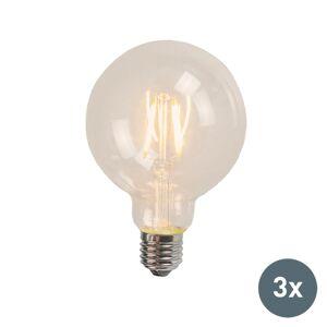 QAZQA Zestaw 3 x żarówka LED E27 filament 4W 470 lm 2700K