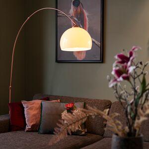 QAZQA Nowoczesna lampa łukowa miedziana z białym kloszem - Arc Basic