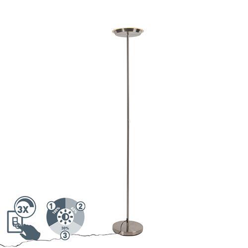 Trio Leuchten Stalowa lampa podłogowa 3-stopniowa ściemnialna, w tym ściemniacz LED i dotykowy - Pondi