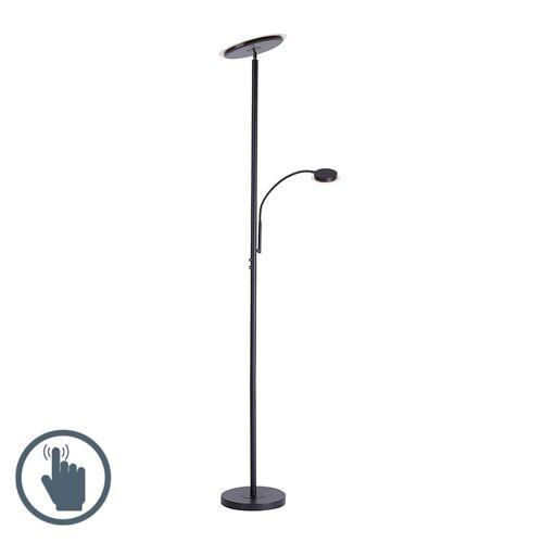 Paul Neuhaus Lampa podłogowa czarna z diodą LED ze ściemniaczem dotykowym i ramieniem do czytania - Hanz