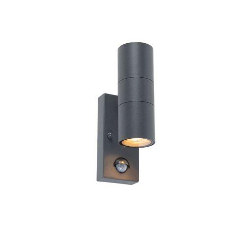 QAZQA Kinkiet zewnętrzny antracyt IP44 z czujnikiem ruchu - Duo