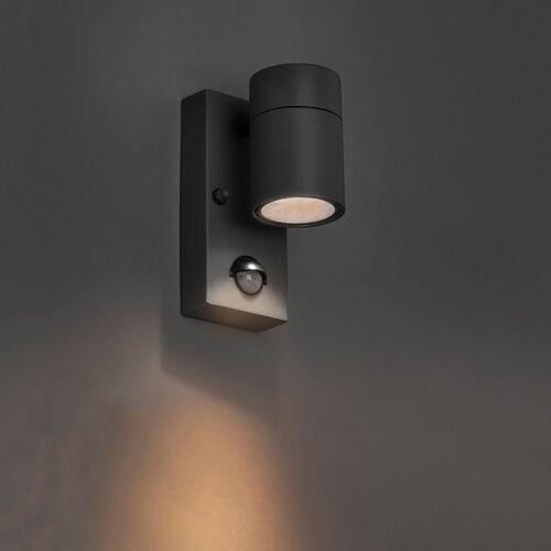QAZQA Kinkiet zewnętrzny antracyt IP44 z czujnikiem ruchu - Solo