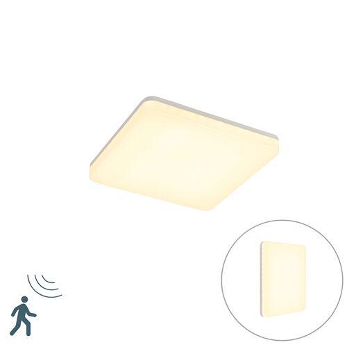 QAZQA Nowoczesna kwadratowa lampa zewnętrzna LED czujnik ruchu - Plater