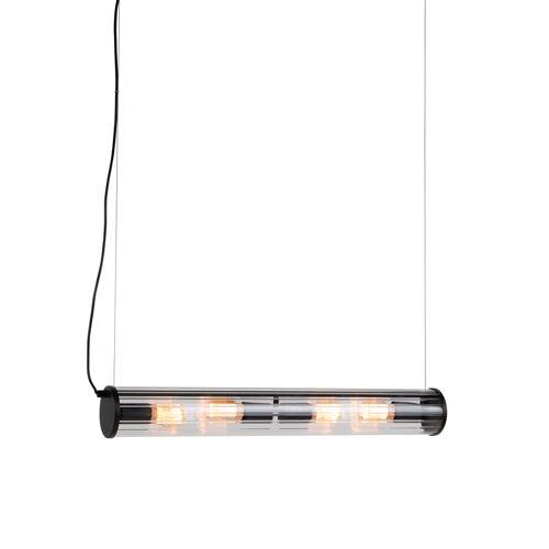 QAZQA Wisząca lampa czarna 4-lampowa z żebrowanym szkłem - Costilla
