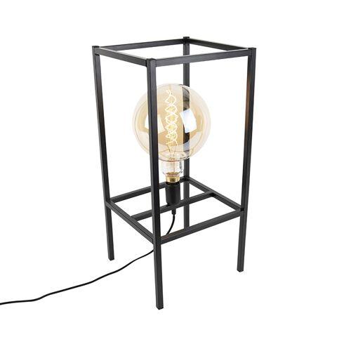 QAZQA Nowoczesna lampa stołowa czarna - Big Cage