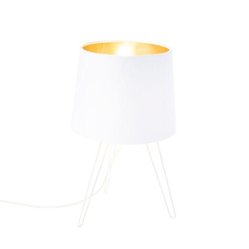 QAZQA Nowoczesna lampa stołowa biała - Lofty