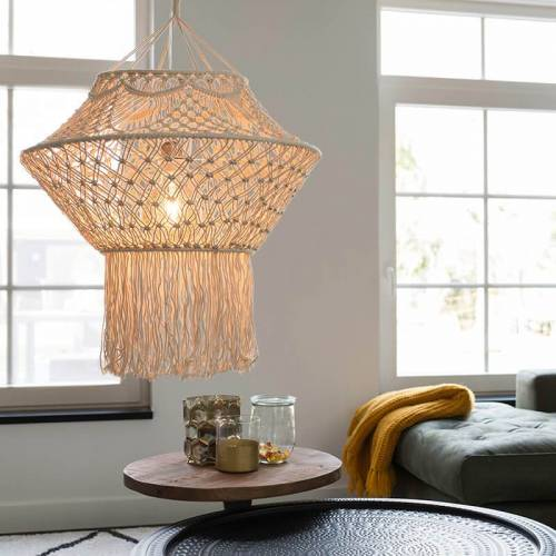 QAZQA Wiejska lampa wisząca makrama 90 cm - sznurek