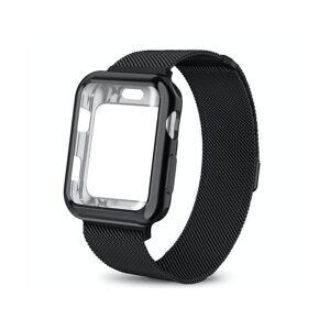 Bransoleta etui Alogy 2w1 pasek stalowy do Apple Watch 4 42mm czarna