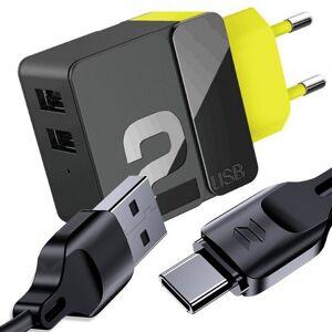 Ładowarka sieciowa Rock Sugar Pro 2x USB 2.4A 12W EU + Kabel Z15 USB-C
