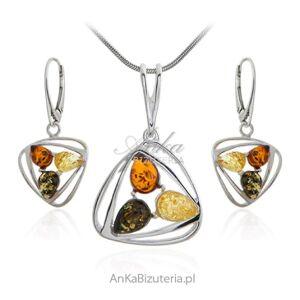 ankabizuteria.pl  Biżuteria srebrna  z bursztynem - komplet z kolorowym bursztynem