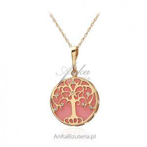 ankabizuteria.pl  Srebrna zawieszka pozłacana  z różowym agatem i cyrkoniami  -
