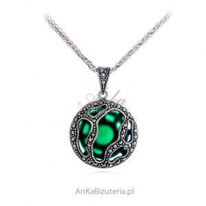 ankabizuteria.pl  Srebrna zawieszka z markazytami z zielonym kamieniem jubilerskim