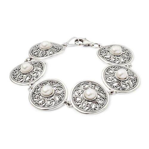 Bransoletka srebro perła L 1775
