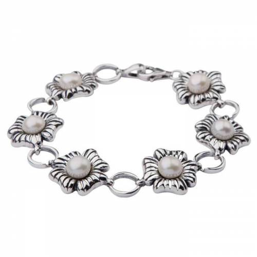 Bransoletka srebro perełki L 1565