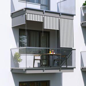 Jarolift Markiza balkonowa pionowa, Szaro-biała, 120x140cm