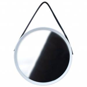 Lustro okrągłe na pasku 52cm białe z paskiem LOFT