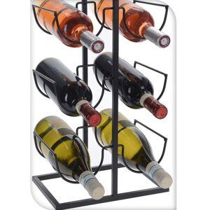 Stojak WINO regał na butelki wina - 6 butelek metalowy czarny