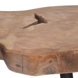 Stolik KAWOWY drewniany blat tekowy naturalny 55 cm LOFT