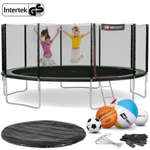 Hop-Sport Trampolina Hop-Sport 16ft (488cm) czarno-zielona z siatką zewnętrzną