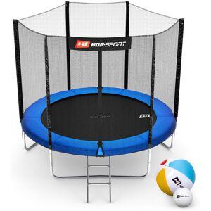 Hop-Sport Trampolina Hop-Sport 8ft (244cm) niebieska z siatką zewnętrzną