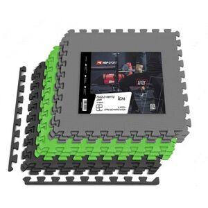 Hop-Sport Mata puzzle EVA 1cm czarno/szaro/zielona - 9 sztuk