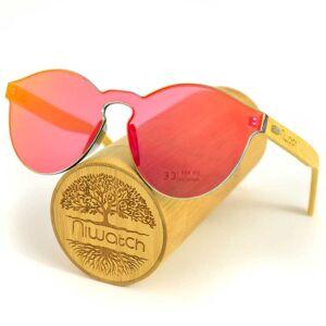 Niwatch Drewniane okulary przeciwsłoneczne Niwatch Cassiopeia Orange Mirror