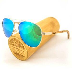 Niwatch Drewniane okulary przeciwsłoneczne Niwatch Musca Green Mirror