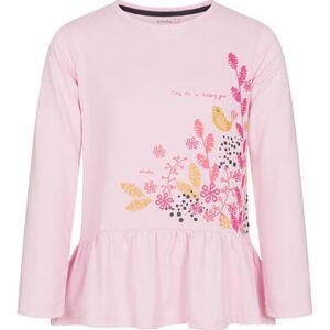 Endo Bluzka z długim rękawem dla dziewczynki, z ozdobną falbanką, różowa, 9-13 lat