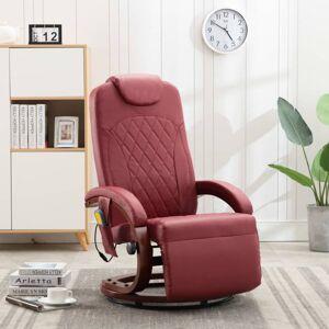 Vidaxl telewizyjny fotel masujący, regulowany, czerwone wino, ekoskóra Krzesła, fotele i inne siedziska Fotele masujące