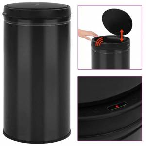 Vidaxl automatyczny kosz na śmieci z czujnikiem, 60 l, stal, czarny Artykuły gospodarstwa domowego Kosze na śmieci