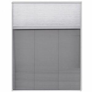 Vidaxl plisowana moskitiera okienna, 160 x 110 cm, z osłoną Dekoracje Ekrany okienne